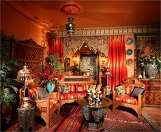 Bright, rich Moroccan inspired decor in my attic reading nook ... cozy and comfy