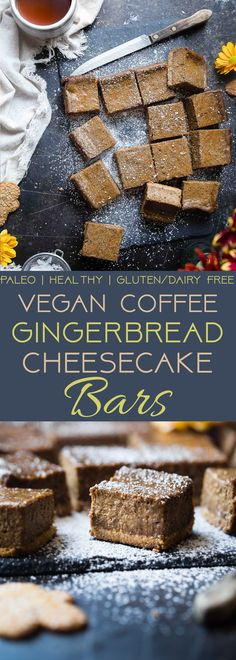 These Gingerbread Dairy Free Paleo Cheesecake Bars are SO creamy and spicy-sweet! A vegan friendly, healthy and gluten free dessert for the holidays! Paleo Dessert, Healthy Dessert Recipes, Gluten Free Desserts, Baking Recipes, Real Food Recipes, Snack Recipes, Snacks, Paleo Recipes, Free Recipes