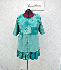 Teal Stenciled Upcycled Tunic  Boho Clothing  Hippie Top  Bohemian Style Plus Size 2X Summer Festival  Lagenlook Clothing Funky Mori Girl by RepurposeCouture on Etsy https://www.etsy.com/au/listing/398414551/teal-stenciled-upcycled-tunic-boho