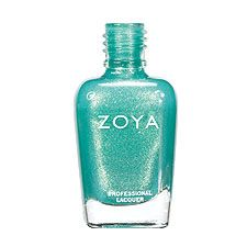 Zoya Nail Polish in Zuza - Deep, saturated, oceanic turquoise with gold and silver metallic shimmer and a foil-like finish #Zoya