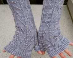 twisted ivy fingerless mitt knitting pattern – Etsy