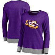 LSU Tigers Women's Team Essentials Horizon Clean Color Heathered Crew Neck Tri-Blend Sweatshirt - Purple