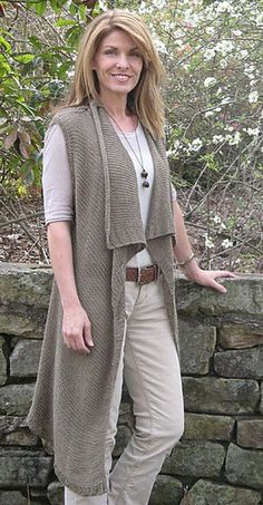 Tree Knitter Designs Lola Vest Knitting Pattern - can be knit at two gauges sport or chunky weight.