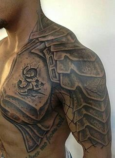 Armor chest and half sleeve tatoo