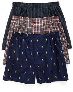 533a4fd62 Men s Polo Ralph Lauren 3-Pack Woven Cotton Boxers