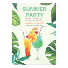 #elegant - #Summer Cocktails Invitation