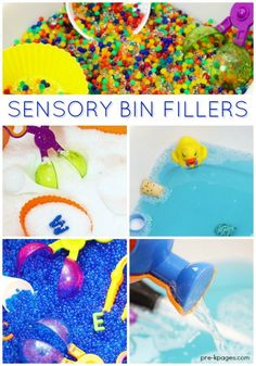 What to Put Inside a Sensory Bin? A list of ideas for filling your sensory bins with fun, engaging things for your preschool kids to explore at home or at school.