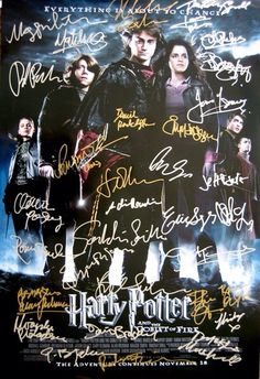 Harry Potter and the Goblet of Fire movie posters with cast autographs