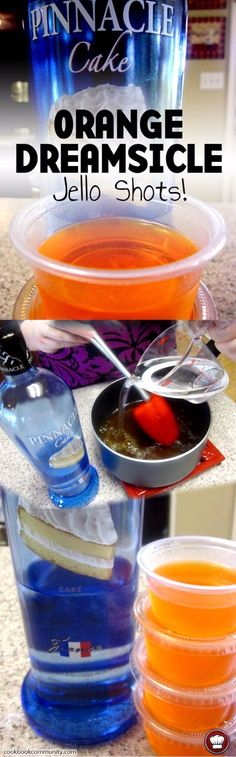 Best Jello Shot Recipes - Orange Dreamsicle Jello Shots - Easy Jello Shots Recipe Ideas with Vodka, Strawberry, Tequila, Rum, Jolly Rancher and Creative Alcohol Party Drinks, Cocktail Drinks, Fun Drinks, Alcoholic Drinks, Drinks Alcohol, Alcohol Shots, Vodka Alcohol, Mixed Drinks, Party Party