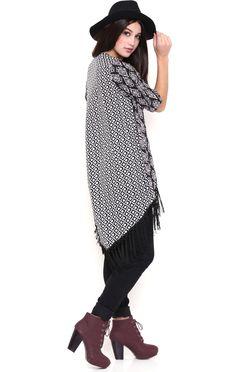 Deb Shops Aztec Print Kimono with Fringe Bottom $12.25