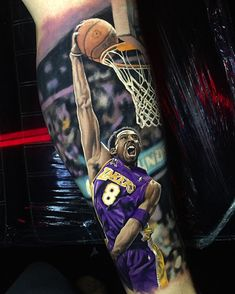 Very nice full colors realistic tattoo style of Kobe Bryant motive done by artist Steve Butcher