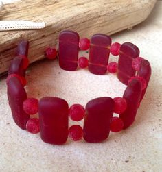 Sale sea glass,Red drilled seaglass beads,double hole bead-supplies,glass-rectangle with spacer beads,sea glass bracelet,supplies,24x12mm