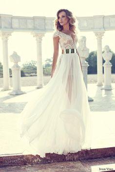 2015 New Sexy V Neck Cap Sleeves Side Cut Out Long Lace A Line Wedding Gown Vestido De Novia Wedding Events Dress Bridal Dress