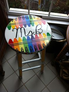 Hey everyone! I hope your Friday is going well! :) I got my stool back! I must say.... I left it to my dad to put a clear gloss coat on it a...