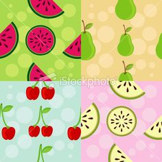 Collection of different patterns, fruit theme by BibiDesign