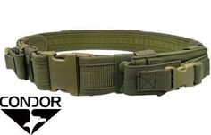 CONDOR-Nylon-Tactical-Belt-w-2-Pistol-Mag-Pouches-tb-OLIVE-DRAB-OD-Green