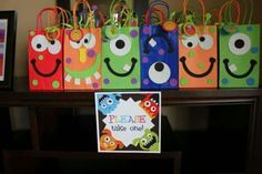 Favors from a Monster Party maybe for Alexander's birthday Little Monster Birthday, Monster 1st Birthdays, Monster Birthday Parties, 1st Boy Birthday, First Birthday Parties, First Birthdays, Birthday Ideas, Monster Inc Party, Monster Mash