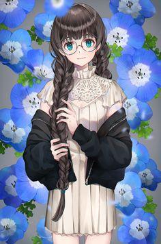 女の子 三つ編み 丸眼鏡
