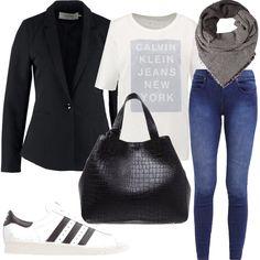 Perfette e pratiche per tutta la giornata, jeans attillato, e giacca nera, due classici del nostro guardaroba, abbinati a capi sportivi, come le sneakers e la t-shirt, ed alla borsa classica a mano in pelle nera.