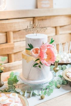 Marble Wedding Cake with Gold Leaf Decor & Peony Topper | Marble, Copper & Greenery Wedding at Cripps Barn Cotswolds | Summer Lily Studio Photography #marble #wedding #cake