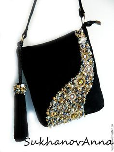 DIY beaded velvet bag
