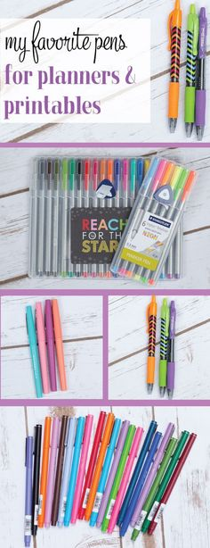 My favorite pens to use in planners and printables. I think I have a set of each of these!  Great idea for journaling, cards, and gifts, too.