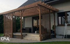 zabudowa tarasu - Google Search Deck With Pergola, Outdoor Pergola, Diy Pergola, Backyard Retreat, Backyard Patio, Garden Design, House Design, Home Landscaping, Back Patio