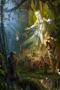 Fairy with animal friends