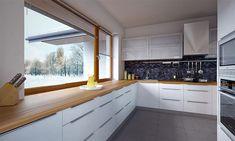 Projekt domu Arte 136,91 m2 - koszt budowy - EXTRADOM Modern Small House Design, Modern Interior Design, Modern Bungalow House, Flat Roof, Design Case, Home Fashion, House Plans, Kitchen Cabinets, Architecture