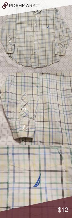 Nautica Boys Button-Down Shirt Boys button down shirt with black, green, yellow, blue, and gray stripes. Size 4T. Nautica Shirts & Tops Button Down Shirts