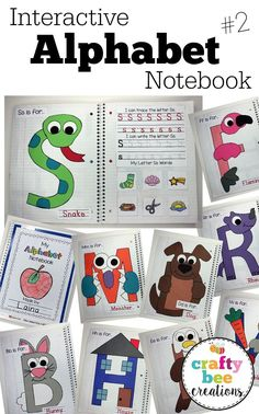This Interactive Alphabet Notebook is great for preschool and kindergarteners working on letter recognition, writing, cu Interactive Notebooks Kindergarten, Preschool Journals, Preschool Letters, Preschool Curriculum, Preschool Classroom, Letter Recognition Kindergarten, Homeschooling, Preschool Learning Activities, Preschool Lessons