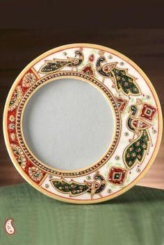 Peacock marble photo frame   Rs. 2195   Styleever.com   #handicrafts #kundan #peacock #prints #motifs #meenakari #photoframe