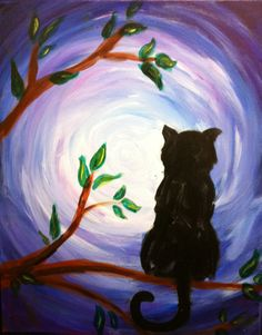 black cat in tree, moonlight