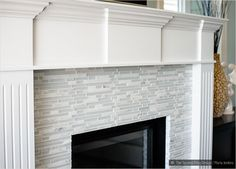 marble Fireplace tiles white trim | Elegant White Marble & Glass Kitchen Backsplash Tile