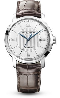 Discover the Classima 8731 steel and leather watch for men with automatic movement, designed by Baume et Mercier, Swiss Watch Maker.