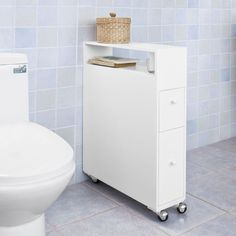 16cm - 59,95 euros - SoBuy Meuble de rangement à roulette WC,Porte-papier toilette,Armoire,FRG51-W FR