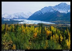 Matanuska Glacier in the fall. Glenn Highway, Central Alaska.
