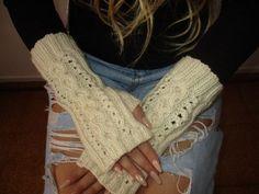 Knitted stylish fingerless gloves, fingerless mittens by Milevknitting #HandmadeMilevknitting #Mittens