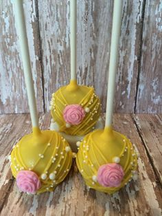 12 Yellow and Pink Rose Cake Pops Baby Bridal Birthday Wedding Favors Sweets Table Candy Buffet