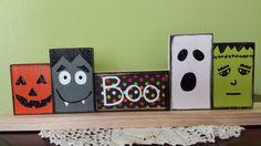 Wooden Blocks Halloweenpumpkin frankenstein by SusansWallCandy, $30.00
