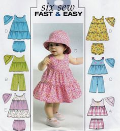 VERY-EASY-SEWING-PATTERN-BABY-TODDLERS-DRESS-TOP-PANTIES-SHORTS-HAT