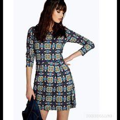 "NWT Boho Long Sleeve Dress SZ S/M Bust 30"".   Waist. 27"".   Hips 44"".   Length 33"".  95% polyester 5% elastane Dresses Mini"
