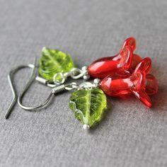Lampwork Flower Earrings Sterling Silver Hook Earrings