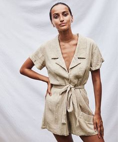 A textured, linen romper from sustainable fashion label Lune Resort. Bohemian Style Clothing, Animals Of The World, Fashion Labels, Sustainable Fashion, Vintage Inspired, Boho Chic, Wrap Dress, Rompers, Boutique
