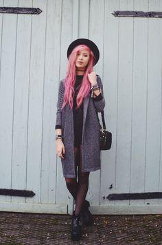 Hat + choker + black playsuit + grey coat + tights + boots