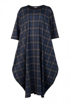Shop AKH Women's Check Balloon Dress from idaretobe official online store. Balloon Dress, Balloon Shapes, Off Duty, Simple Style, Stretch Fabric, Plus Size Fashion, Black And Grey, Balloons, Short Sleeve Dresses