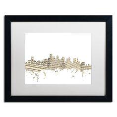 Boston Skyline Sheet Music by Michael Tompsett Framed Graphic Art in White