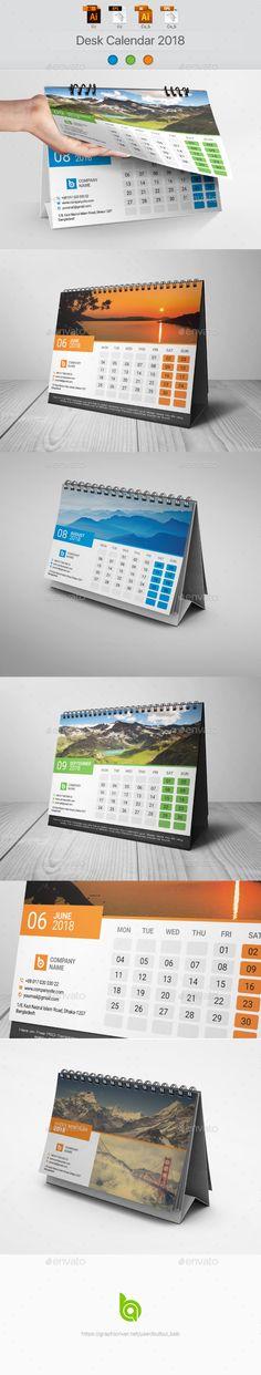#creative #corporate #Desk #Calendar #template #2018 - #Calendars #Stationery #design. download here: https://graphicriver.net/item/desk-calendar-2018/20177547?ref=yinkira