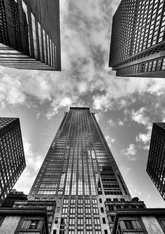 Extreme angle of view and clean straight lines. Taken in black and white to show contrast and dark and lights.
