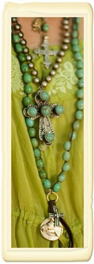 turquoise beads atop lime...
